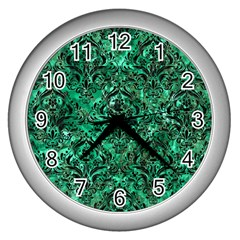 Damask1 Black Marble & Green Marble Wall Clock (silver) by trendistuff