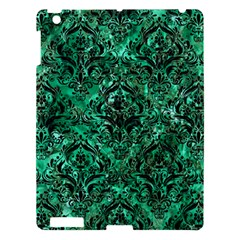 Damask1 Black Marble & Green Marble Apple Ipad 3/4 Hardshell Case by trendistuff