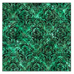 Damask1 Black Marble & Green Marble Large Satin Scarf (square) by trendistuff