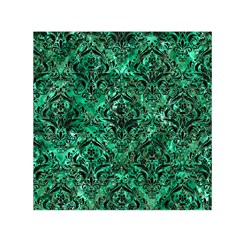 Damask1 Black Marble & Green Marble Small Satin Scarf (square) by trendistuff