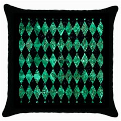 Diamond1 Black Marble & Green Marble Throw Pillow Case (black) by trendistuff
