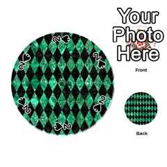 Diamond1 Black Marble & Green Marble Playing Cards 54 (round)
