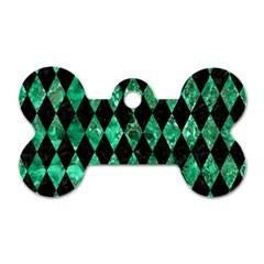 Diamond1 Black Marble & Green Marble Dog Tag Bone (two Sides) by trendistuff