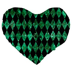 Diamond1 Black Marble & Green Marble Large 19  Premium Flano Heart Shape Cushion by trendistuff