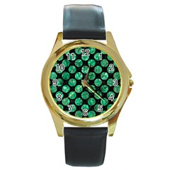 Circles2 Black Marble & Green Marble (r) Round Gold Metal Watch by trendistuff