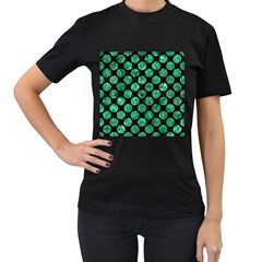 Circles2 Black Marble & Green Marble (r) Women s T Shirt (black) (two Sided)