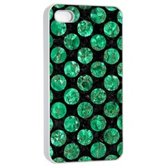 Circles2 Black Marble & Green Marble (r) Apple Iphone 4/4s Seamless Case (white) by trendistuff