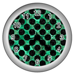 Circles2 Black Marble & Green Marble Wall Clock (silver) by trendistuff