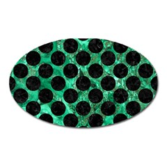 Circles2 Black Marble & Green Marble Magnet (oval) by trendistuff