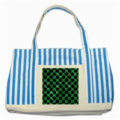 Circles2 Black Marble & Green Marble Striped Blue Tote Bag by trendistuff
