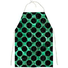 Circles2 Black Marble & Green Marble Full Print Apron by trendistuff