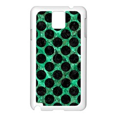 Circles2 Black Marble & Green Marble Samsung Galaxy Note 3 N9005 Case (white) by trendistuff