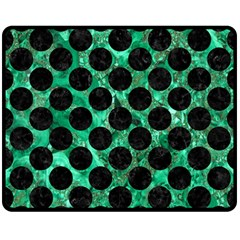 Circles2 Black Marble & Green Marble Double Sided Fleece Blanket (medium)