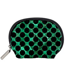 Circles2 Black Marble & Green Marble Accessory Pouch (small) by trendistuff