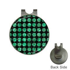 Circles1 Black Marble & Green Marble (r) Golf Ball Marker Hat Clip by trendistuff