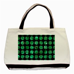 Circles1 Black Marble & Green Marble (r) Basic Tote Bag by trendistuff