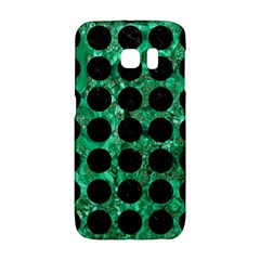 Circles1 Black Marble & Green Marble Samsung Galaxy S6 Edge Hardshell Case by trendistuff