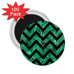 Chevron9 Black Marble & Green Marble (r) 2 25  Magnet (100 Pack)  by trendistuff