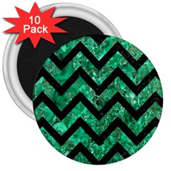 Chevron9 Black Marble & Green Marble (r) 3  Magnet (10 Pack) by trendistuff