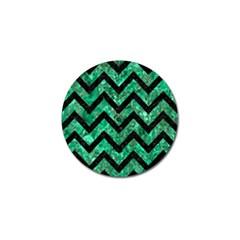 Chevron9 Black Marble & Green Marble (r) Golf Ball Marker (4 Pack) by trendistuff