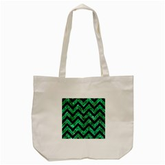 Chevron9 Black Marble & Green Marble (r) Tote Bag (cream) by trendistuff