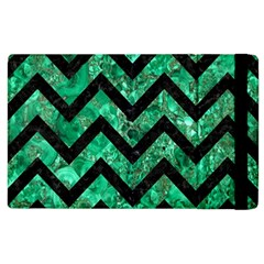 Chevron9 Black Marble & Green Marble (r) Apple Ipad 2 Flip Case by trendistuff