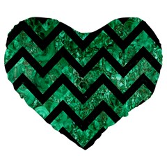 Chevron9 Black Marble & Green Marble (r) Large 19  Premium Flano Heart Shape Cushion by trendistuff