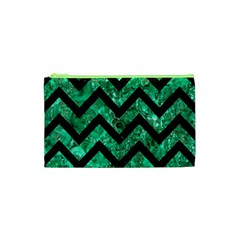 Chevron9 Black Marble & Green Marble (r) Cosmetic Bag (xs)