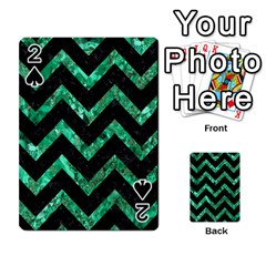 Chevron9 Black Marble & Green Marble Playing Cards 54 Designs