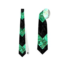 Chevron9 Black Marble & Green Marble Necktie (two Side)
