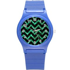 Chevron9 Black Marble & Green Marble Round Plastic Sport Watch (s) by trendistuff