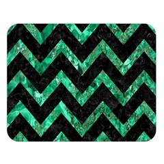 Chevron9 Black Marble & Green Marble Double Sided Flano Blanket (large) by trendistuff