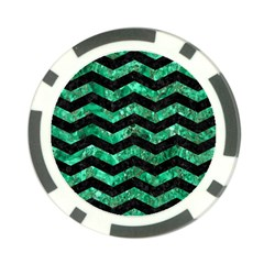 Chevron3 Black Marble & Green Marble Poker Chip Card Guard (10 Pack) by trendistuff