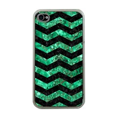 Chevron3 Black Marble & Green Marble Apple Iphone 4 Case (clear) by trendistuff