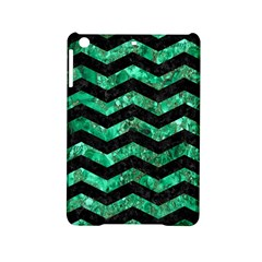 Chevron3 Black Marble & Green Marble Apple Ipad Mini 2 Hardshell Case by trendistuff