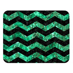 Chevron3 Black Marble & Green Marble Double Sided Flano Blanket (large) by trendistuff