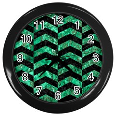 Chevron2 Black Marble & Green Marble Wall Clock (black) by trendistuff