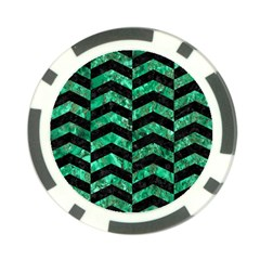 Chevron2 Black Marble & Green Marble Poker Chip Card Guard (10 Pack) by trendistuff