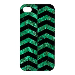 Chevron2 Black Marble & Green Marble Apple Iphone 4/4s Hardshell Case by trendistuff