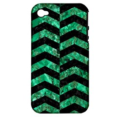 Chevron2 Black Marble & Green Marble Apple Iphone 4/4s Hardshell Case (pc+silicone) by trendistuff