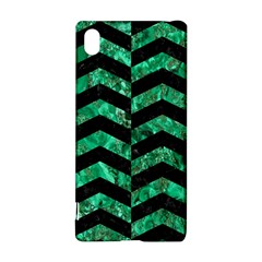Chevron2 Black Marble & Green Marble Sony Xperia Z3+ Hardshell Case by trendistuff