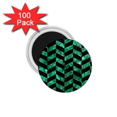 Chevron1 Black Marble & Green Marble 1 75  Magnet (100 Pack)  by trendistuff