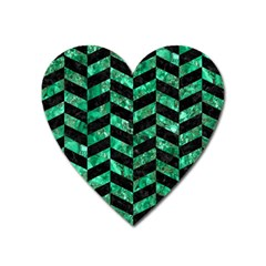 Chevron1 Black Marble & Green Marble Magnet (heart) by trendistuff