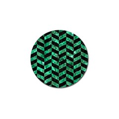 Chevron1 Black Marble & Green Marble Golf Ball Marker (4 Pack) by trendistuff
