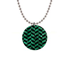 Chevron1 Black Marble & Green Marble 1  Button Necklace by trendistuff