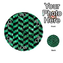 Chevron1 Black Marble & Green Marble Playing Cards 54 (round)