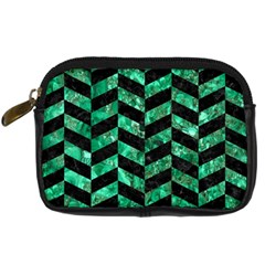 Chevron1 Black Marble & Green Marble Digital Camera Leather Case by trendistuff