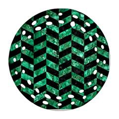 Chevron1 Black Marble & Green Marble Ornament (round Filigree) by trendistuff