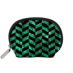 Chevron1 Black Marble & Green Marble Accessory Pouch (small) by trendistuff