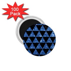 Triangle3 Black Marble & Blue Marble 1 75  Magnet (100 Pack)  by trendistuff